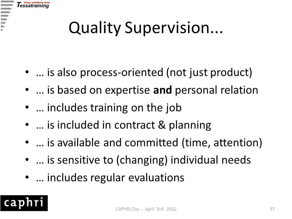 CAPHRI Day - April 3rd 201217 Quality Supervision...