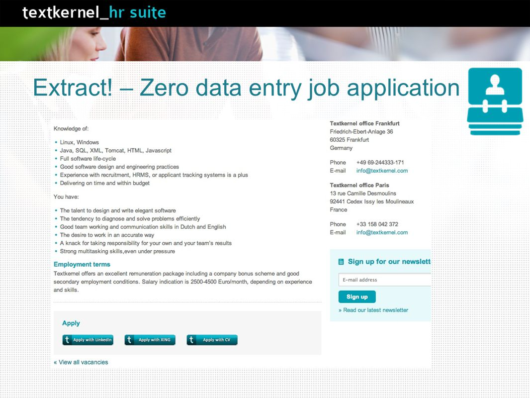 Extract! – Zero data entry job application