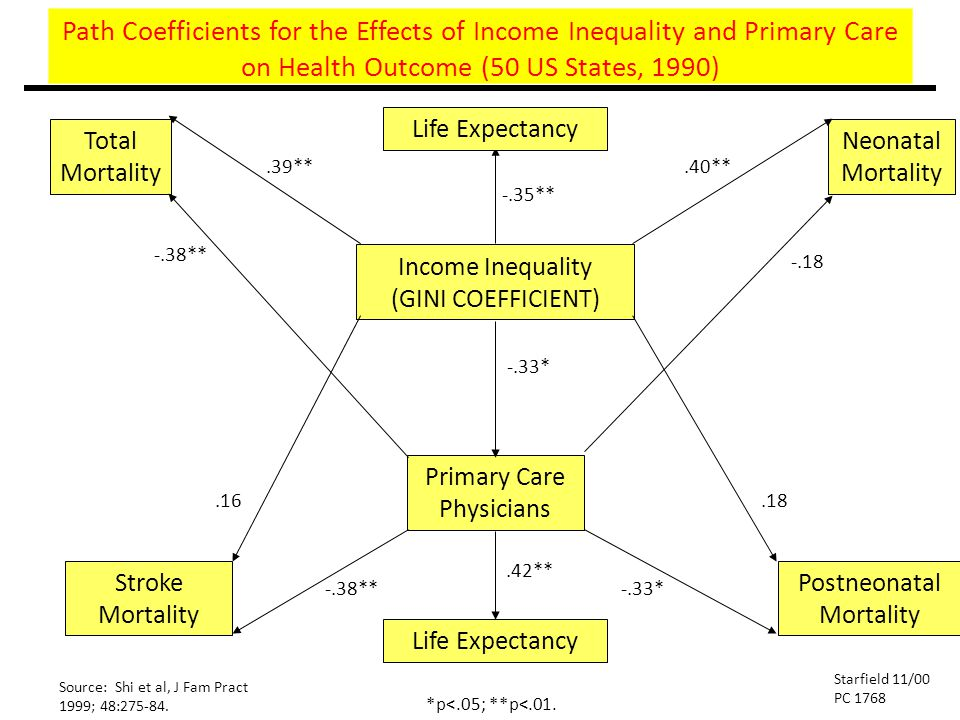 Path Coefficients for the Effects of Income Inequality and Primary Care on Health Outcome (50 US States, 1990) Total Mortality Neonatal Mortality Inco