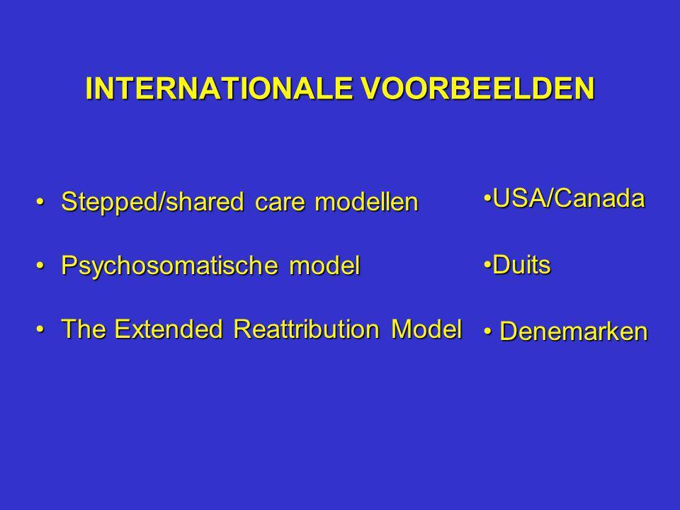 INTERNATIONALE VOORBEELDEN Stepped/shared care modellenStepped/shared care modellen Psychosomatische modelPsychosomatische model The Extended Reattrib