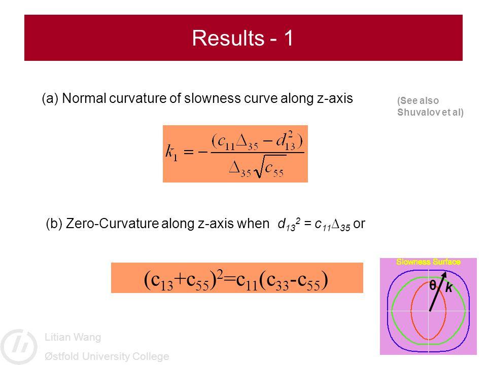 Litian Wang Østfold University College Results - 1 (a) Normal curvature of slowness curve along z-axis (b) Zero-Curvature along z-axis when d 13 2 = c 11 ∆ 35 or (c 13 +c 55 ) 2 =c 11 (c 33 -c 55 ) (See also Shuvalov et al) θ k