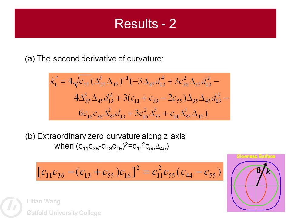 Litian Wang Østfold University College (a) The second derivative of curvature: Results - 2 (b) Extraordinary zero-curvature along z-axis when (c 11 c 36 -d 13 c 16 ) 2 =c 11 2 c 55 ∆ 45 ) θ k
