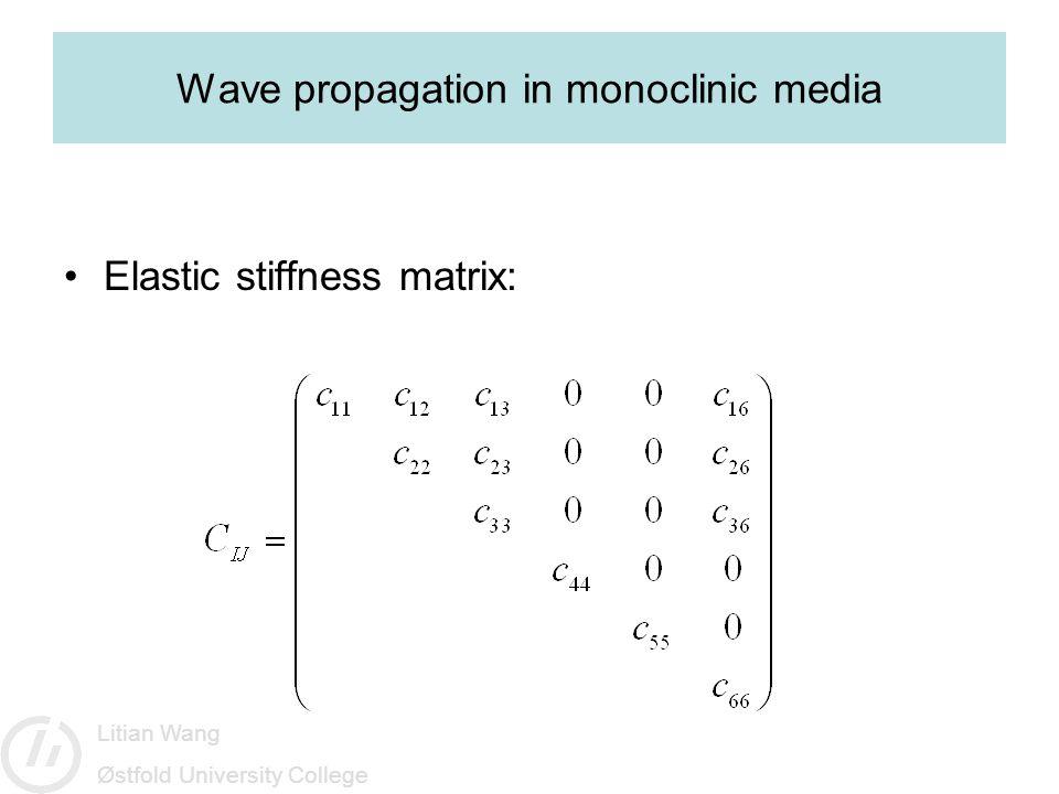 Litian Wang Østfold University College Wave propagation in monoclinic media Elastic stiffness matrix: