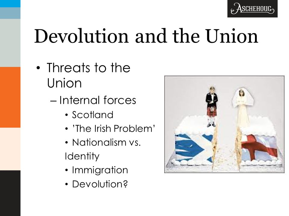 Devolution and the Union Threats to the Union – Internal forces Scotland 'The Irish Problem' Nationalism vs.