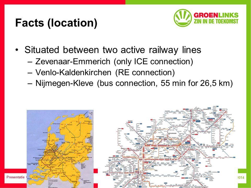 9 July, 2014 Presentatie GroenLinks Facts (location) Situated between two active railway lines – Zevenaar-Emmerich (only ICE connection) – Venlo-Kaldenkirchen (RE connection) – Nijmegen-Kleve (bus connection, 55 min for 26,5 km)