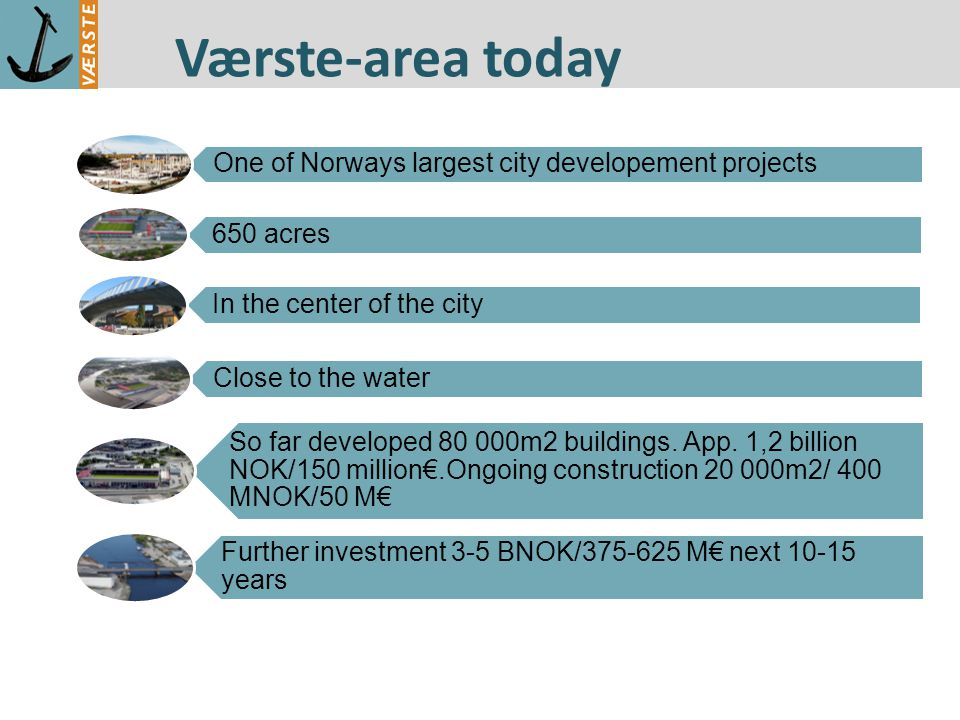 Værste-area today One of Norways largest city developement projects 650 acres In the center of the city Close to the water So far developed 80 000m2 buildings.