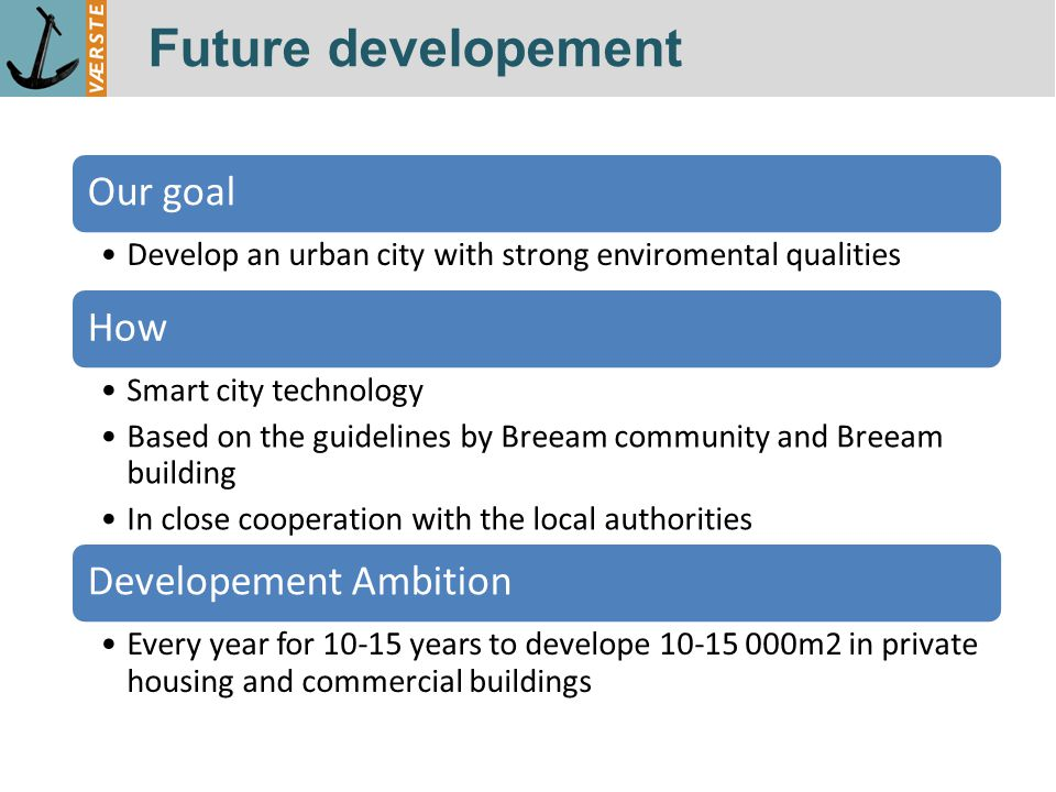 Future developement Our goal Develop an urban city with strong enviromental qualities How Smart city technology Based on the guidelines by Breeam community and Breeam building In close cooperation with the local authorities Developement Ambition Every year for 10-15 years to develope 10-15 000m2 in private housing and commercial buildings