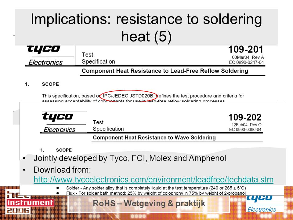 RoHS – Wetgeving & praktijk Jointly developed by Tyco, FCI, Molex and Amphenol Download from: http://www.tycoelectronics.com/environment/leadfree/techdata.stm http://www.tycoelectronics.com/environment/leadfree/techdata.stm Implications: resistance to soldering heat (5)