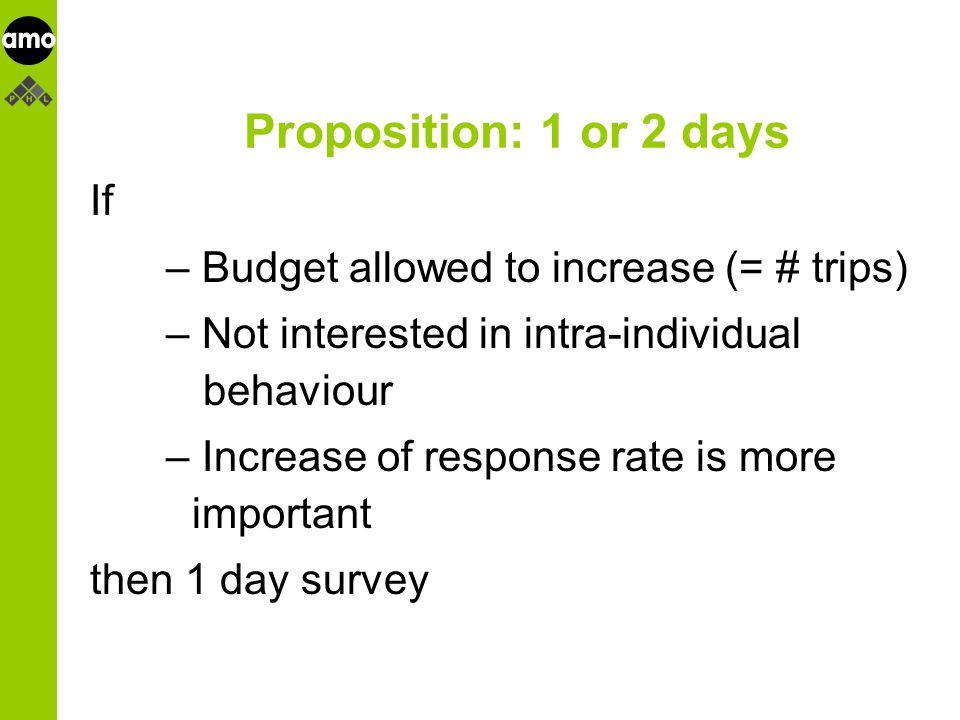 onderzoeksinstituut Proposition: 1 or 2 days If – Budget allowed to increase (= # trips) – Not interested in intra-individual behaviour – Increase of response rate is more important then 1 day survey