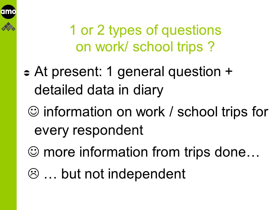 onderzoeksinstituut 1 or 2 types of questions on work/ school trips .