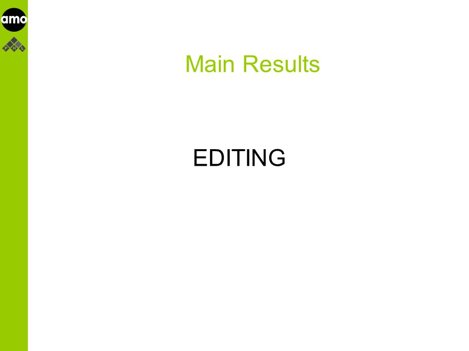 onderzoeksinstituut Main Results EDITING