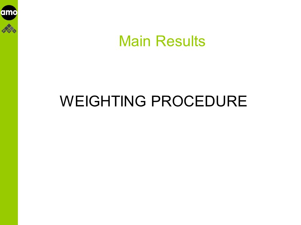 onderzoeksinstituut Main Results WEIGHTING PROCEDURE