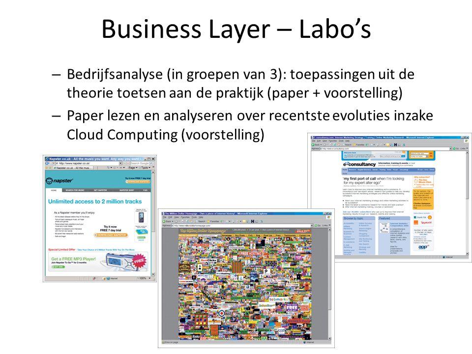Business Layer – Labo's – Bedrijfsanalyse (in groepen van 3): toepassingen uit de theorie toetsen aan de praktijk (paper + voorstelling) – Paper lezen en analyseren over recentste evoluties inzake Cloud Computing (voorstelling) 17