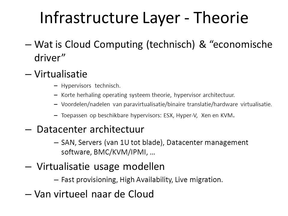 Infrastructure Layer - Theorie – Wat is Cloud Computing (technisch) & economische driver – Virtualisatie – Hypervisors technisch.