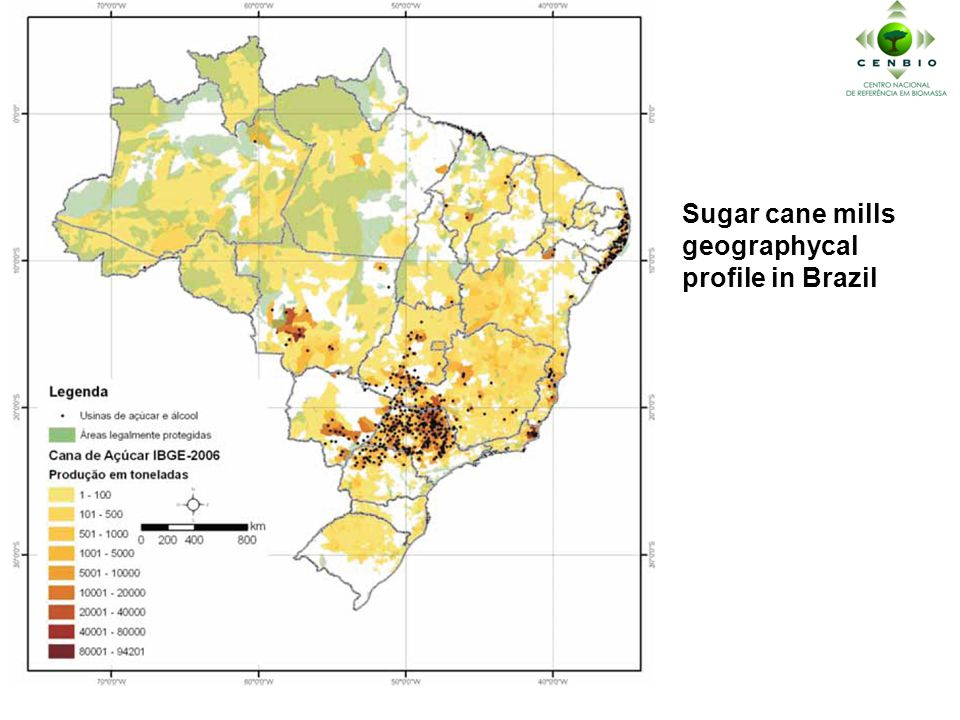 Sugar cane mills geographycal profile in Brazil