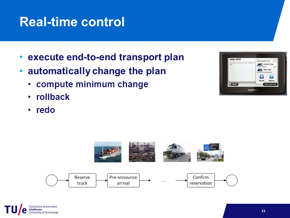 Real-time control execute end-to-end transport plan automatically change the plan compute minimum change rollback redo 13