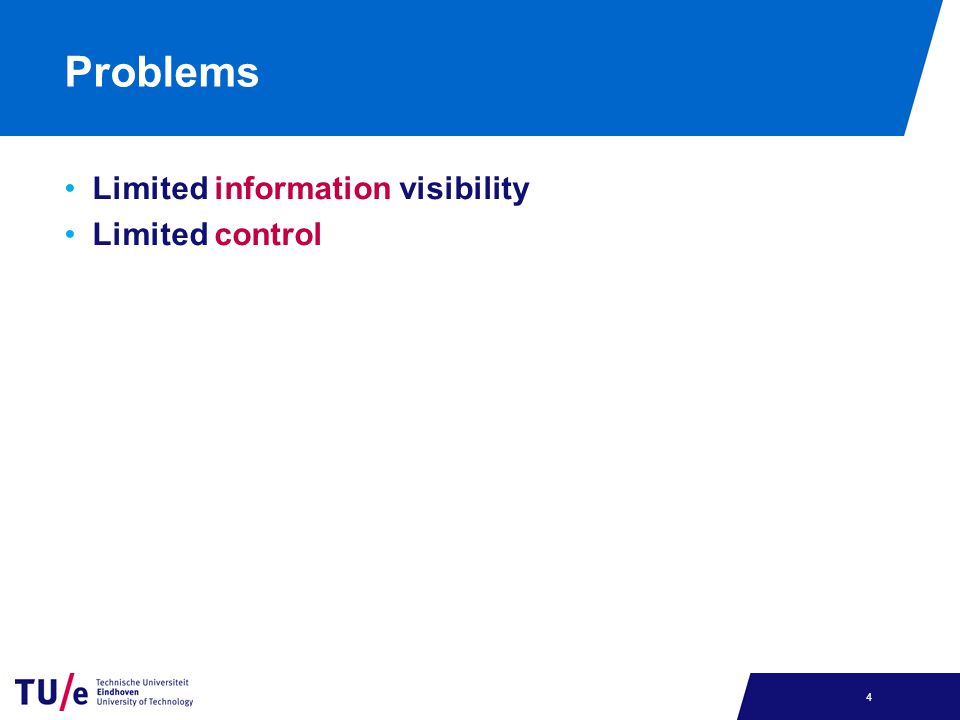 Problems Limited information visibility Limited control 4