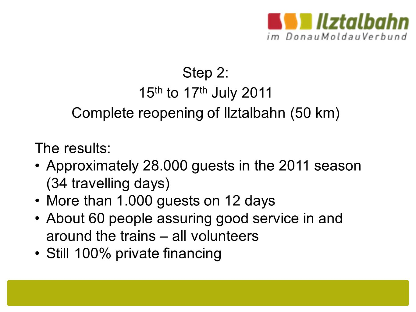 Step 2: 15 th to 17 th July 2011 Complete reopening of Ilztalbahn (50 km) The results: Approximately 28.000 guests in the 2011 season (34 travelling days) More than 1.000 guests on 12 days About 60 people assuring good service in and around the trains – all volunteers Still 100% private financing