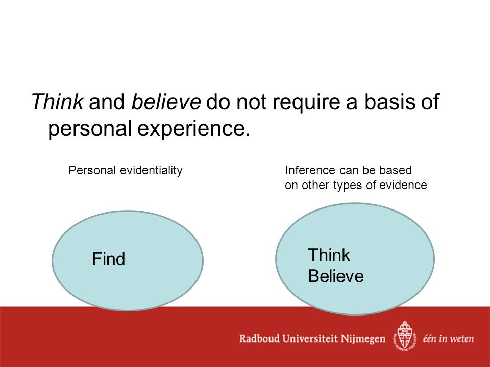 Think and believe do not require a basis of personal experience.