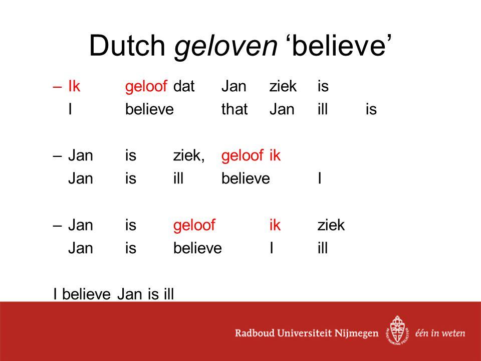 Dutch geloven 'believe' –IkgeloofdatJanziekis I believethatJanillis –Janisziek,geloofik JanisillbelieveI –Jan is geloof ik ziek JanisbelieveIill I bel