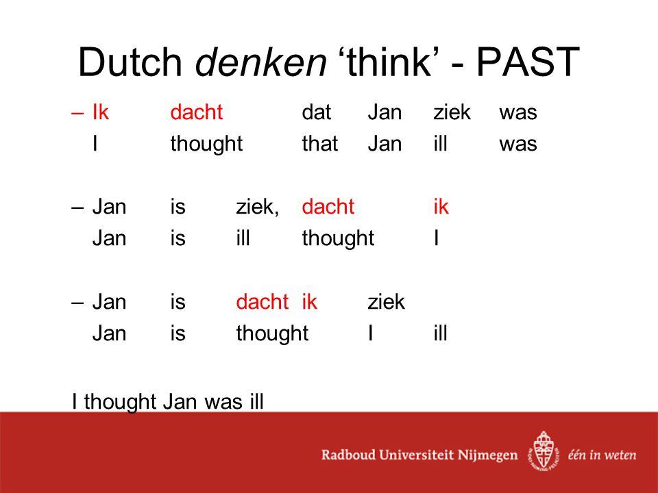 Dutch denken 'think' - PAST –IkdachtdatJanziekwas I thoughtthatJanillwas –Janisziek,dachtik JanisillthoughtI –Jan is dacht ik ziek JanisthoughtIill I