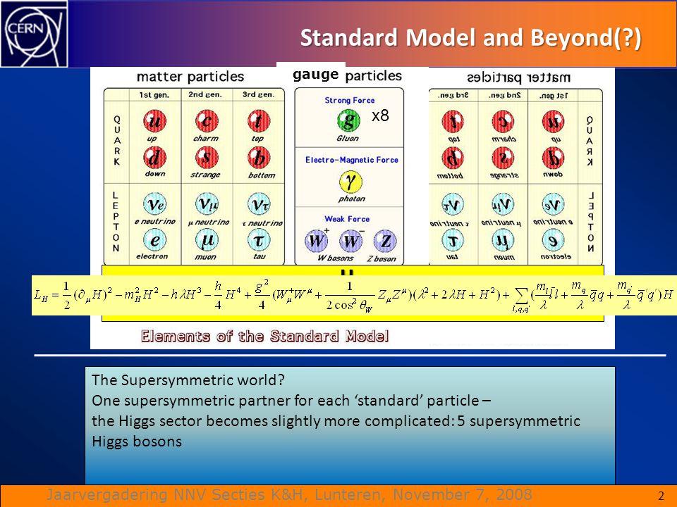 Jaarvergadering NNV Secties K&H, Lunteren, November 7, 2008 Standard Model and Beyond(?) 2 x8 gauge The Supersymmetric world? One supersymmetric partn