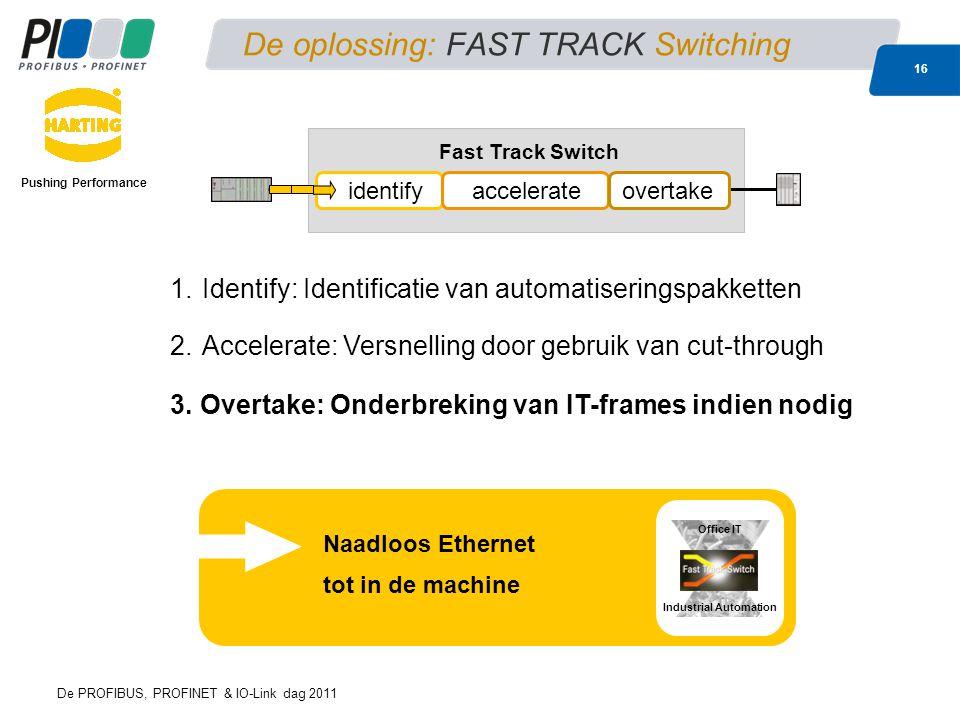 De PROFIBUS, PROFINET & IO-Link dag 2011 16 De oplossing: FAST TRACK Switching Pushing Performance Naadloos Ethernet tot in de machine Industrial Auto
