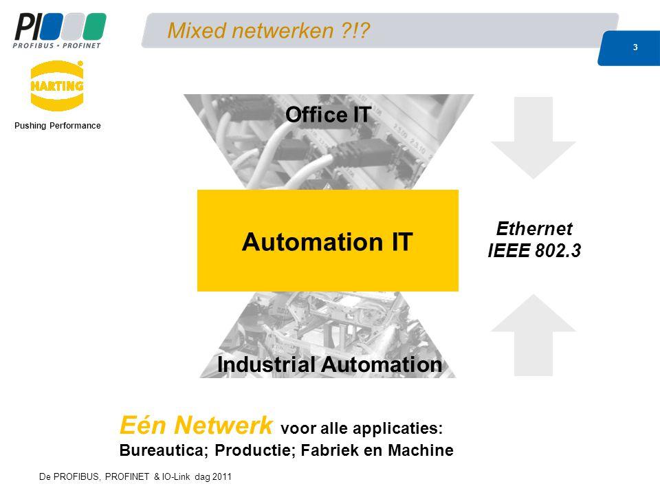 De PROFIBUS, PROFINET & IO-Link dag 2011 3 Mixed netwerken ?!? Eén Netwerk voor alle applicaties: Bureautica; Productie; Fabriek en Machine Office IT