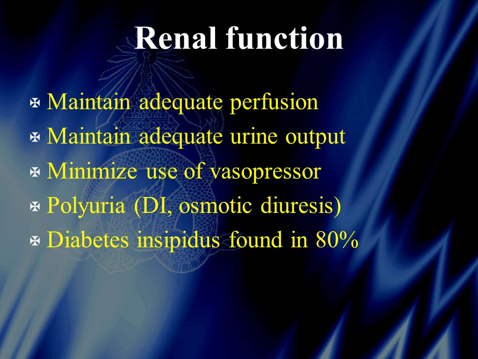 Renal function X Maintain adequate perfusion X Maintain adequate urine output X Minimize use of vasopressor X Polyuria (DI, osmotic diuresis) X Diabetes insipidus found in 80%