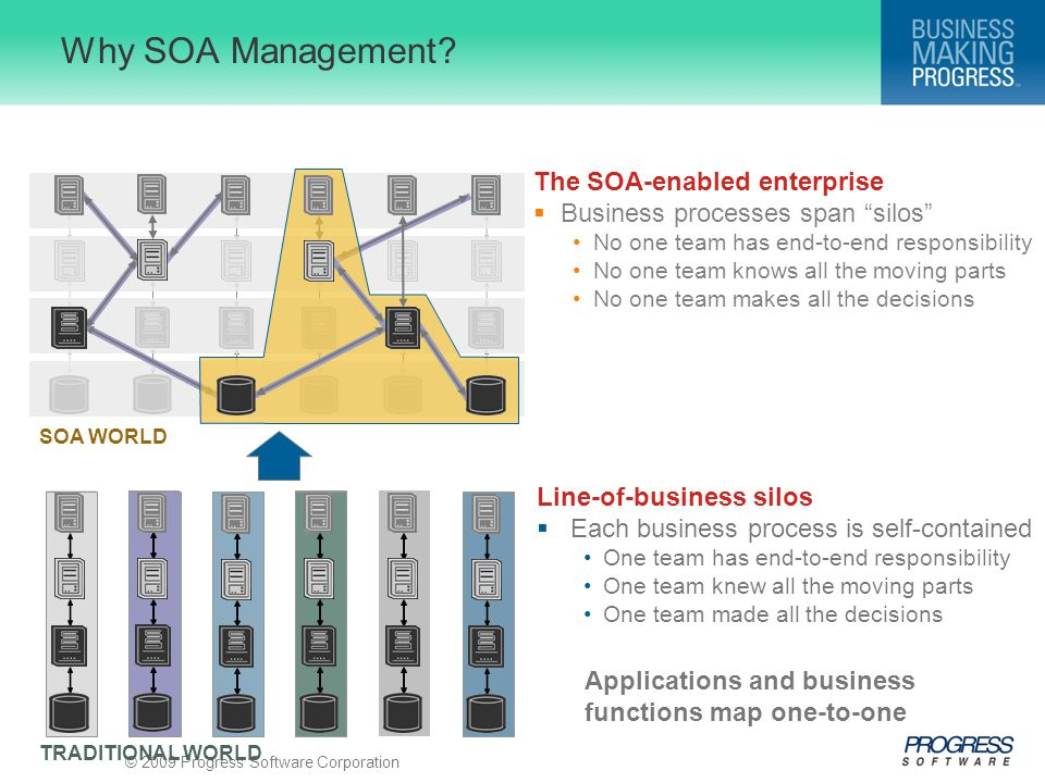 "© 2009 Progress Software Corporation Why SOA Management? The SOA-enabled enterprise  Business processes span ""silos"" No one team has end-to-end respo"