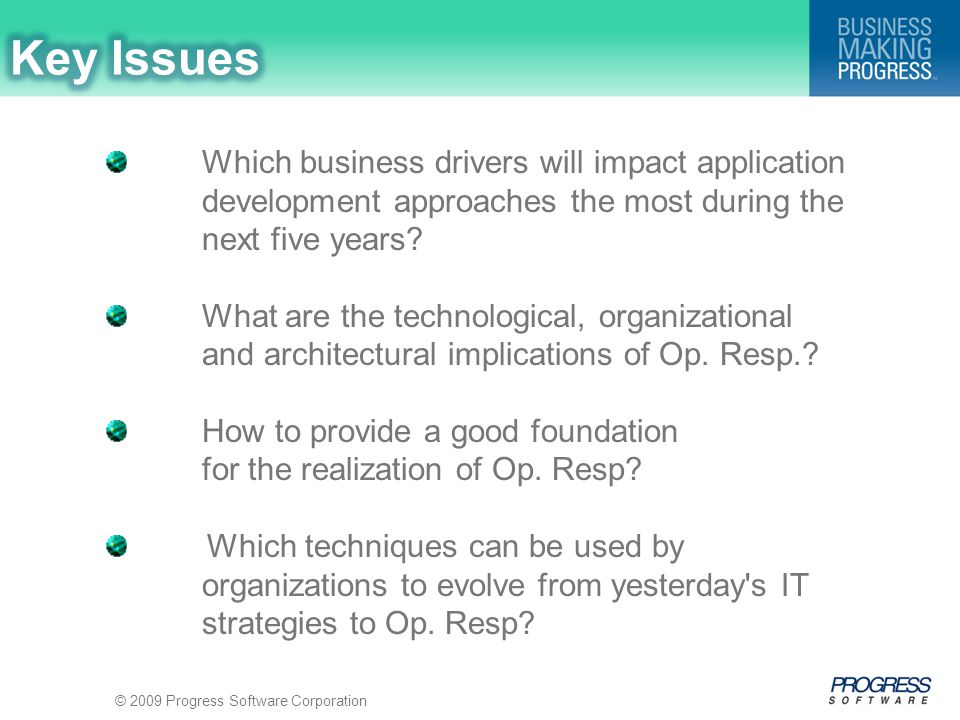 © 2009 Progress Software Corporation Which business drivers will impact application development approaches the most during the next five years.