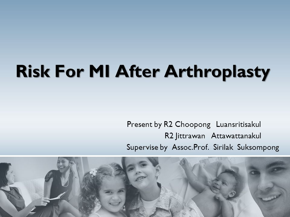 Risk For MI After Arthroplasty Present by R2 Choopong Luansritisakul R2 Jittrawan Attawattanakul Supervise by Assoc.Prof. Sirilak Suksompong