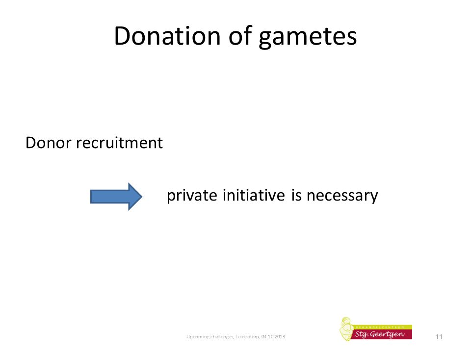 Donation of gametes Donor recruitment private initiative is necessary Upcoming challenges, Leiderdorp, 04.10.2013 11