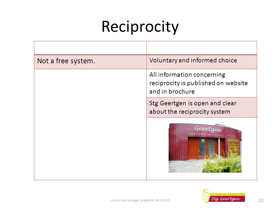 Reciprocity Upcoming challenges, Leiderdorp, 04.10.2013 23 Not a free system. Voluntary and informed choice All information concerning reciprocity is