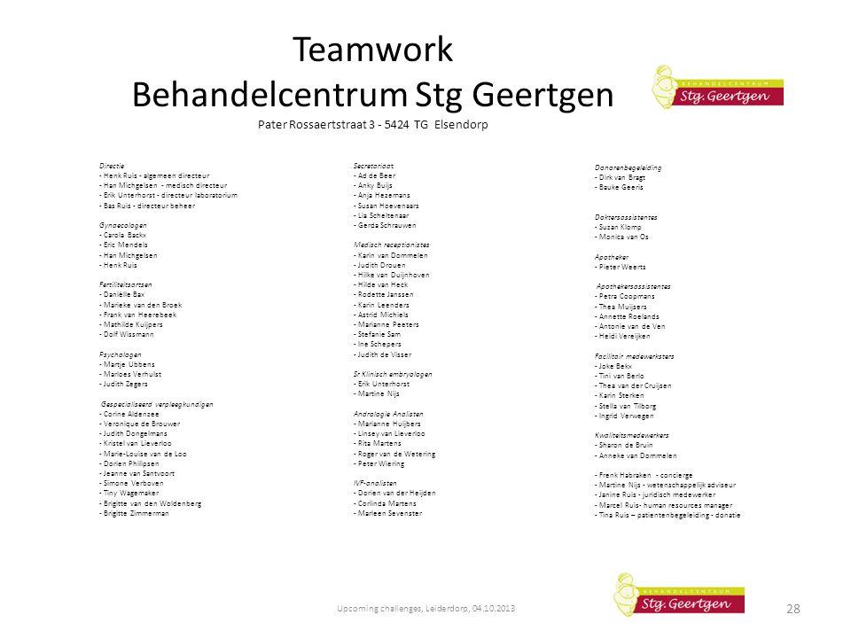 Teamwork Behandelcentrum Stg Geertgen Pater Rossaertstraat 3 - 5424 TG Elsendorp Directie - Henk Ruis - algemeen directeur - Han Michgelsen - medisch