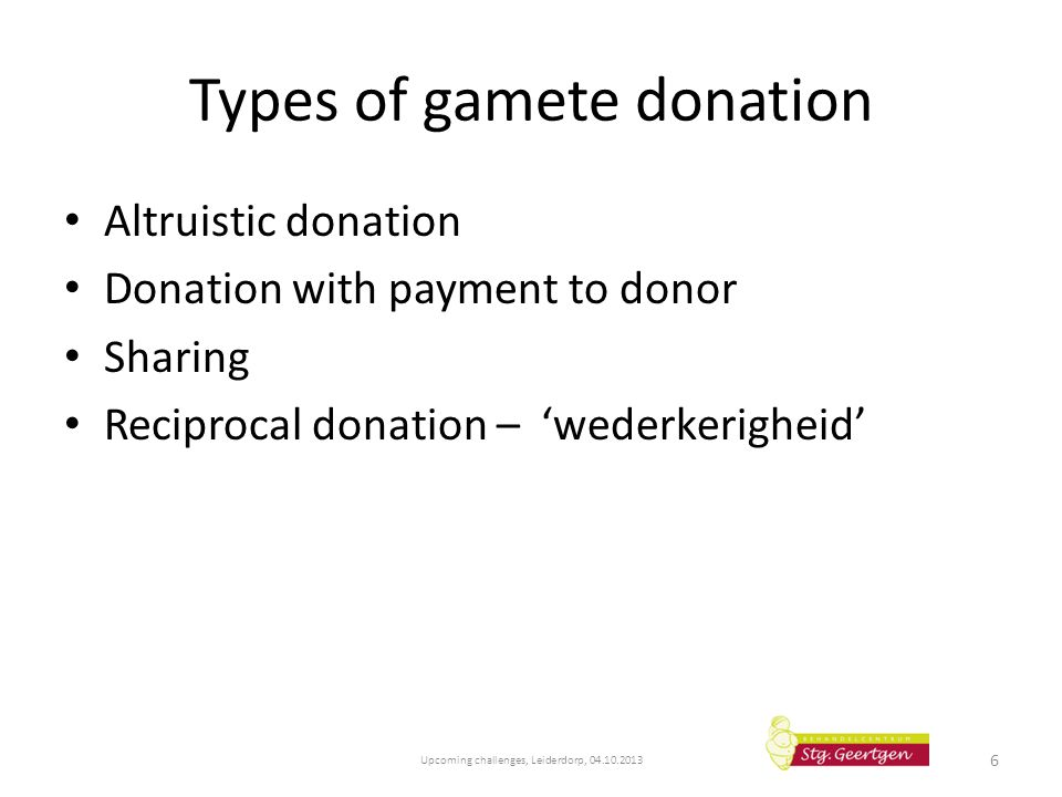 Types of gamete donation Altruistic donation Donation with payment to donor Sharing Reciprocal donation – 'wederkerigheid' Upcoming challenges, Leider