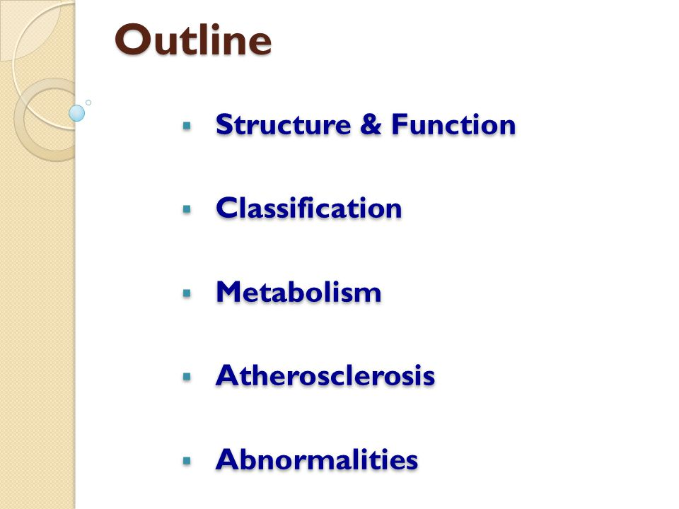 Outline  Structure & Function  Classification  Metabolism  Atherosclerosis  Abnormalities  Structure & Function  Classification  Metabolism 