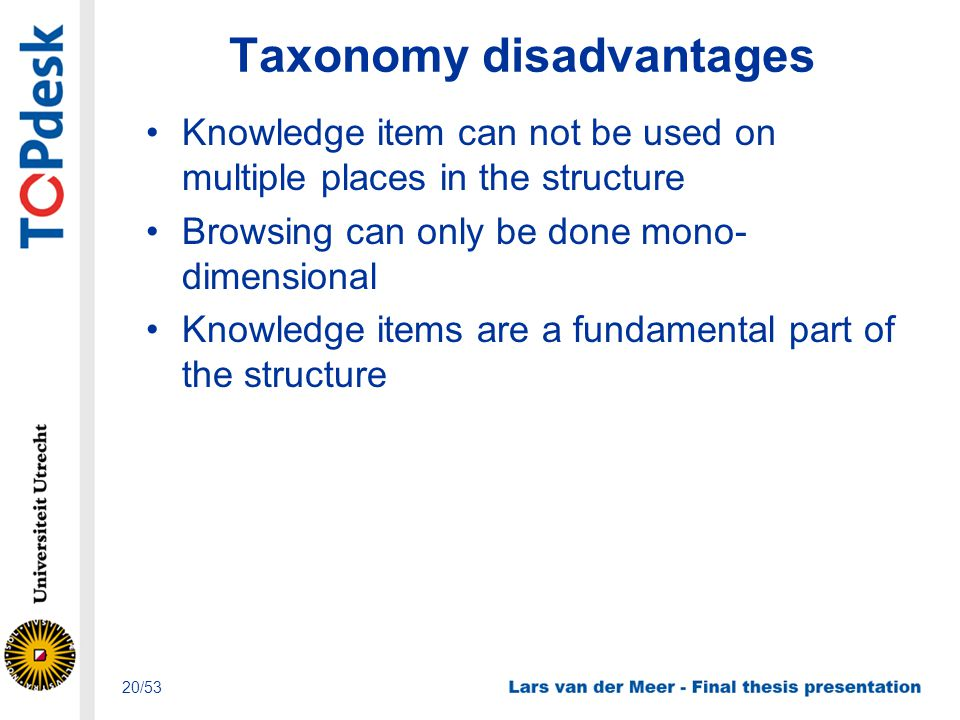 Taxonomy disadvantages Knowledge item can not be used on multiple places in the structure Browsing can only be done mono- dimensional Knowledge items