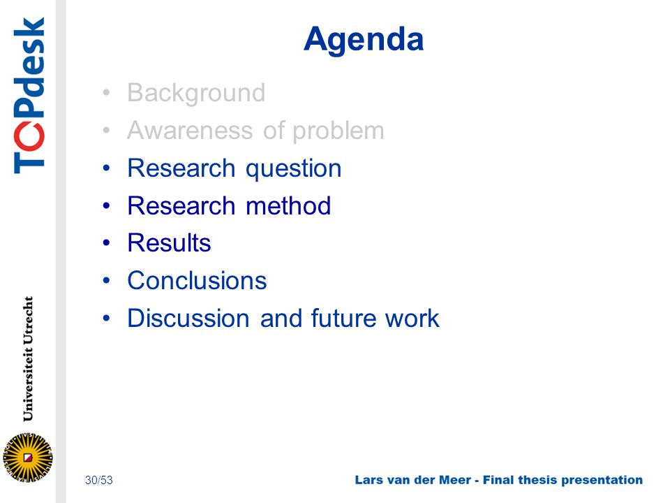 Agenda Background Awareness of problem Research question Research method Results Conclusions Discussion and future work 30/53