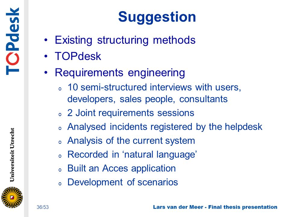 Suggestion Existing structuring methods TOPdesk Requirements engineering o 10 semi-structured interviews with users, developers, sales people, consult