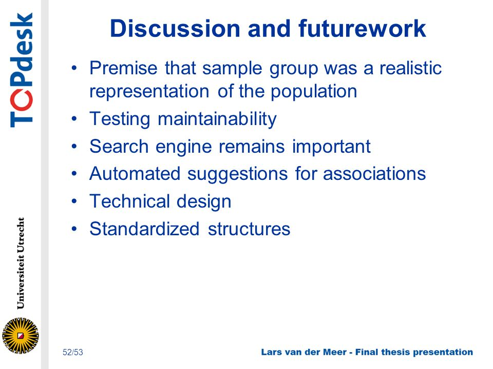Discussion and futurework Premise that sample group was a realistic representation of the population Testing maintainability Search engine remains imp