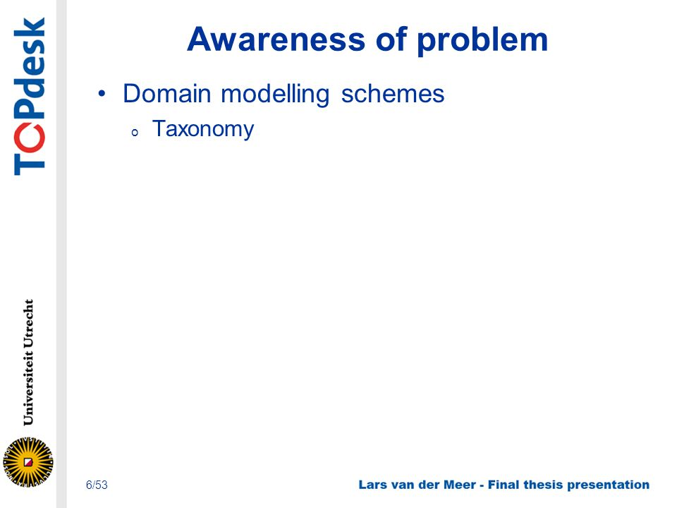 Awareness of problem Domain modelling schemes o Taxonomy 6/53