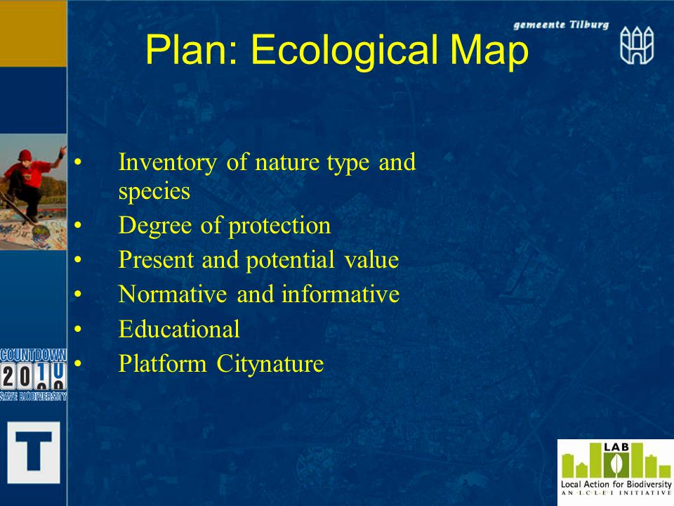Plan: Ecological Map Inventory of nature type and species Degree of protection Present and potential value Normative and informative Educational Platform Citynature