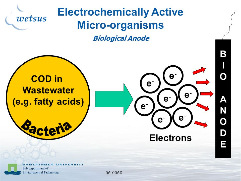 Sub-department of Environmental Technology 06-0068 Electrochemically Active Micro-organisms COD in Wastewater (e.g.