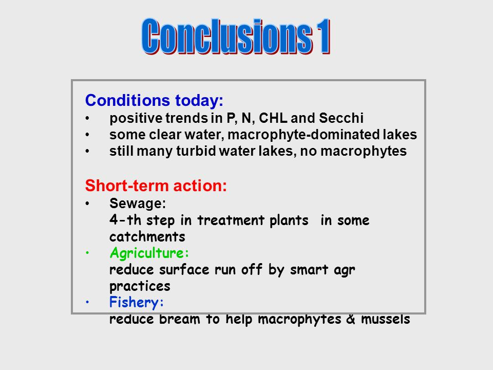 Conditions today: positive trends in P, N, CHL and Secchi some clear water, macrophyte-dominated lakes still many turbid water lakes, no macrophytes Short-term action: Sewage: 4-th step in treatment plants in some catchments Agriculture: reduce surface run off by smart agr practices Fishery: reduce bream to help macrophytes & mussels