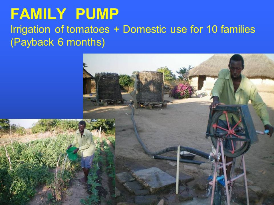 FAMILY PUMP Irrigation of tomatoes + Domestic use for 10 families (Payback 6 months)