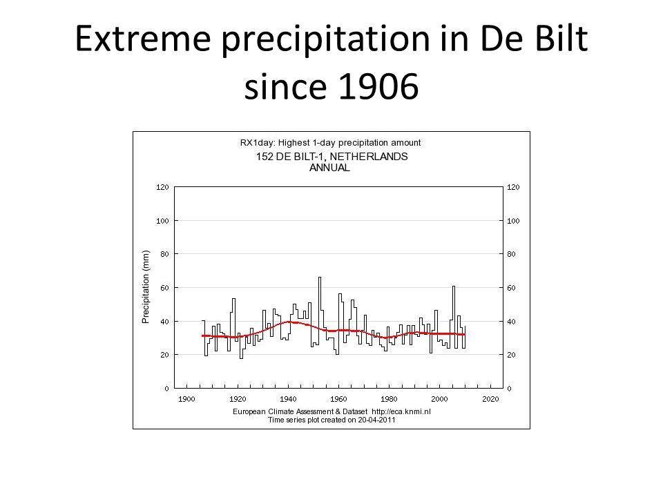 Extreme precipitation in De Bilt since 1906