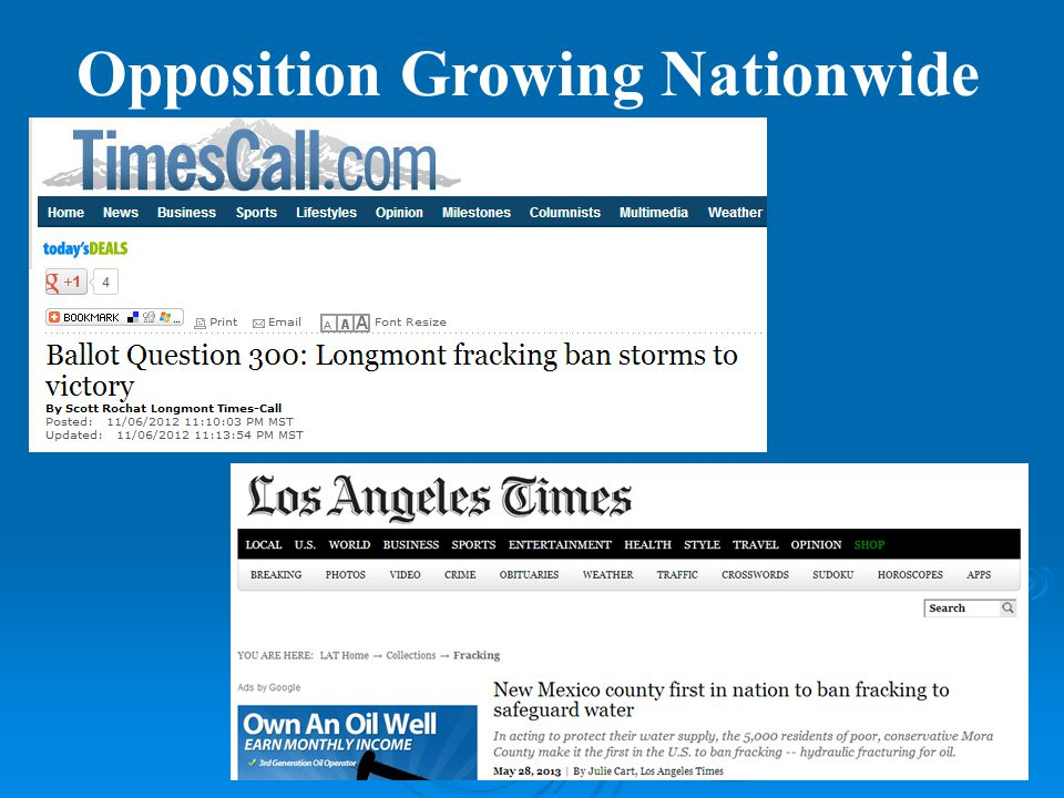 Opposition Growing Nationwide
