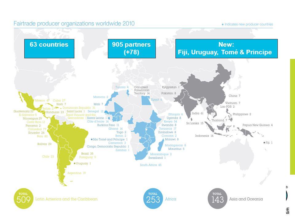 63 countries905 partners (+78) New: Fiji, Uruguay, Tomé & Principe