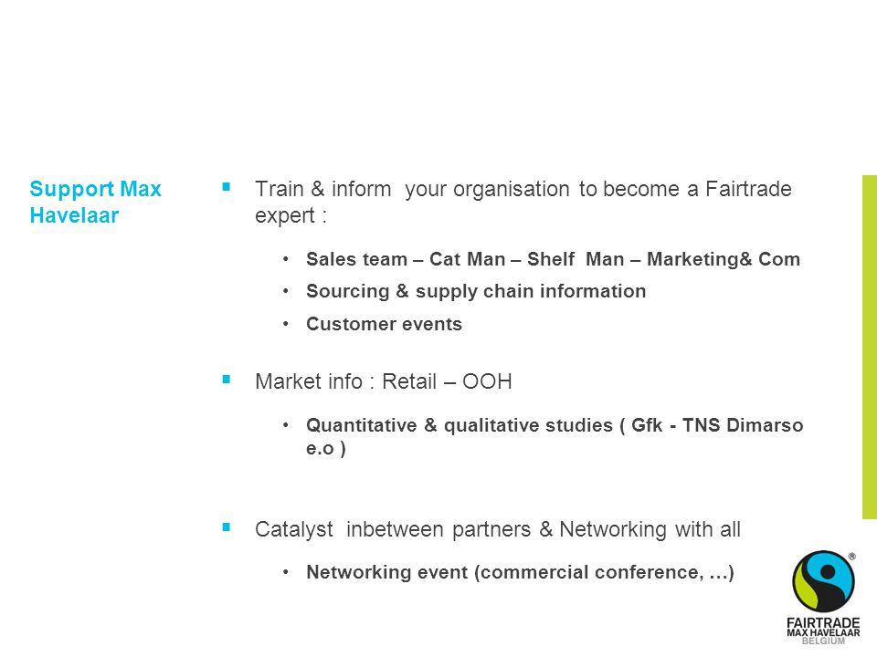 Support Max Havelaar  Train & inform your organisation to become a Fairtrade expert : Sales team – Cat Man – Shelf Man – Marketing& Com Sourcing & su
